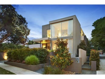 Concrete modern house exterior with brick fence & hedging - House Facade photo 1603225