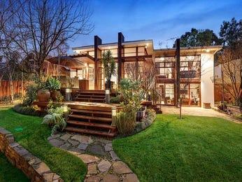 Concrete modern house exterior with floor-to-ceiling windows & landscaped garden - House Facade photo 525861