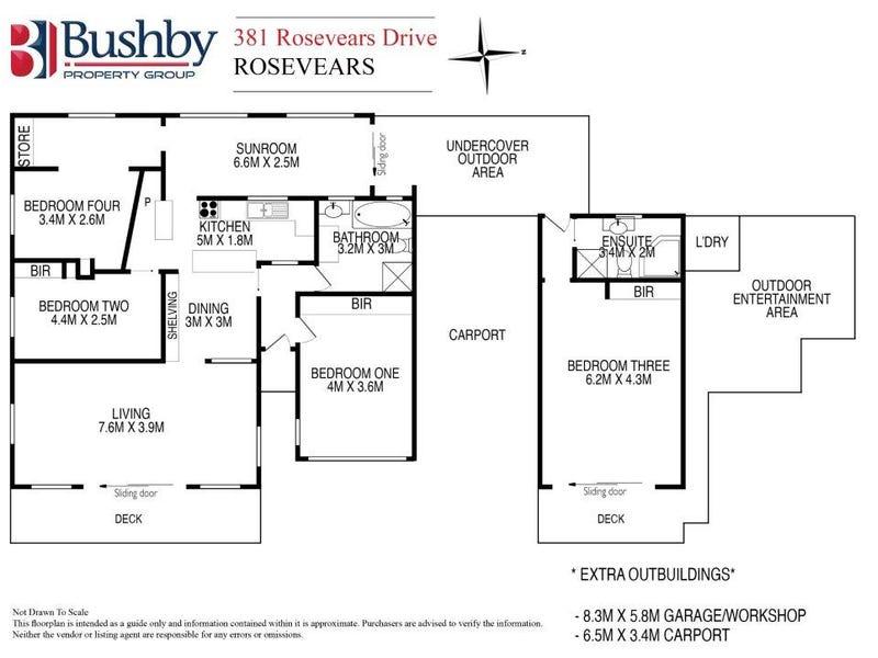 "She's Gotta Go... 精品住宅 这是一处位于""Tasmania 7275, Lanena, 381 Rosevears Drive""的独栋别墅,它拥有4间卧室,2间浴室,3间车库,建筑面积约为133.00平方米,占地面积约为3156.00平方米。 此房源拥有工作室、内置衣柜、洗碗机等室内设施,以及阳台、户外木地板、中庭、户外娱乐区、遮阳篷、安全的停车位等室外设施。"