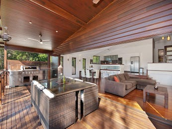 Enclosed outdoor living design with bbq area & outdoor furniture setting using timber - Outdoor Living Photo 1345446