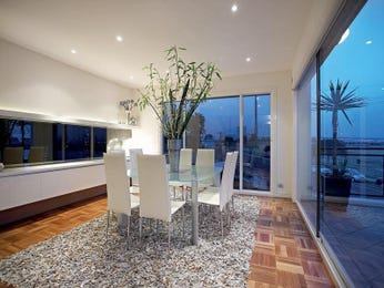Modern dining room idea with laminate & floor-to-ceiling windows - Dining Room Photo 494197