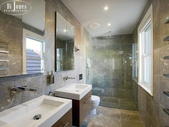 Modern bathroom design with twin basins using frameless glass - Bathroom Photo 1846537