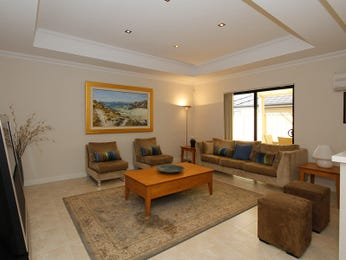 Open plan living room using grey colours with carpet & bay windows - Living Area photo 448319