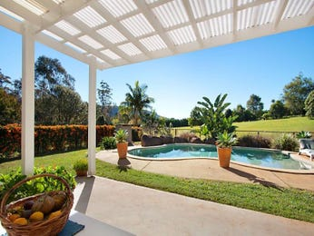 Swim spa pool design using grass with verandah & latticework fence - Pool photo 100361