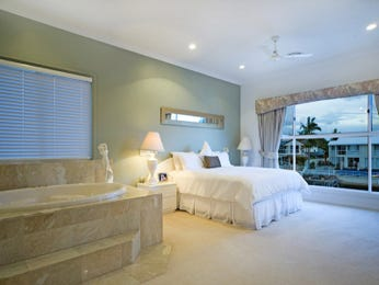 Classic bedroom design idea with tiles & bi-fold doors using green colours - Bedroom photo 406731