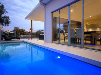 In-ground pool design using tiles with pool fence & latticework fence - Pool photo 101862
