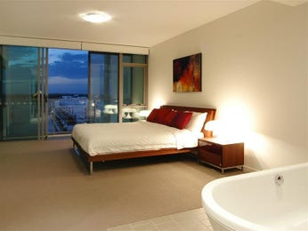 Modern bedroom design idea with glass & balcony using brown colours - Bedroom photo 485136