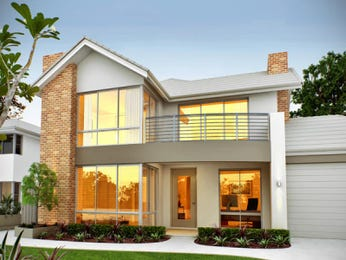 Brick modern house exterior with balcony & landscaped garden - House Facade photo 102379
