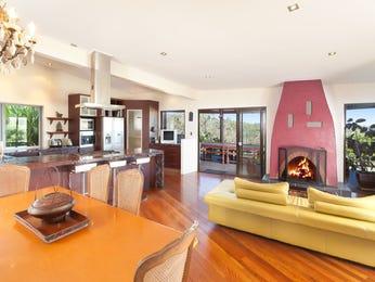 Retro dining room idea with hardwood & fireplace - Dining Room Photo 7950041