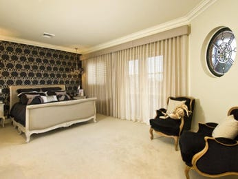 Classic bedroom design idea with tiles & floor-to-ceiling windows using black colours - Bedroom photo 103252