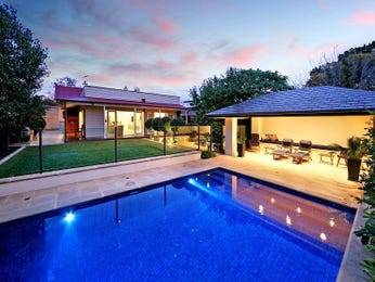 In-ground pool design using brick with verandah & decorative lighting - Pool photo 475434