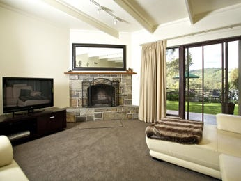 Open plan living room using black colours with carpet & fireplace - Living Area photo 152082