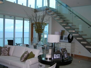 Dining-living living room using beige colours with tiles & floor-to-ceiling windows - Living Area photo 365719