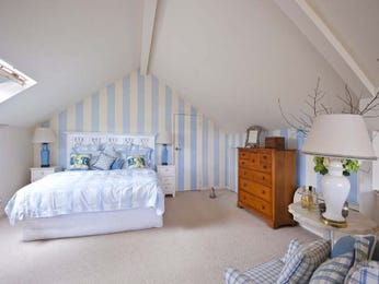Children's room bedroom design idea with hardwood & french doors using blue colours - Bedroom photo 159096