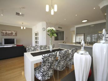 Retro dining room idea with hardwood & french doors - Dining Room Photo 160237
