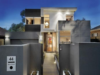 Concrete modern house exterior with balcony & decorative lighting - House Facade photo 160496