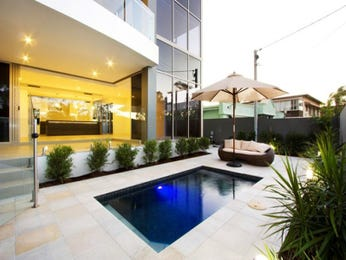 Multi-level outdoor living design with pool & decorative lighting using tiles - Outdoor Living Photo 496405