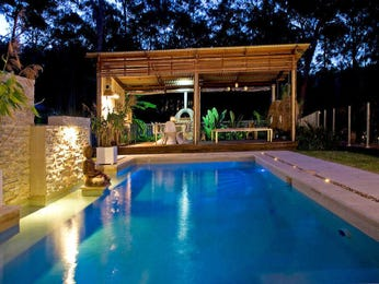 In-ground pool design using tiles with gazebo & decorative lighting - Pool photo 161731
