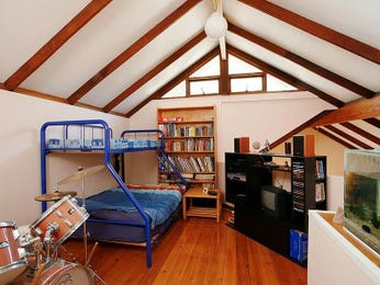 Children's room bedroom design idea with floorboards & exposed eaves using blue colours - Bedroom photo 418163