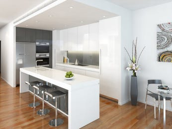 Modern island kitchen design using floorboards - Kitchen Photo 165811
