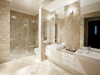 Modern bathroom design with twin basins using frameless glass - Bathroom Photo 368658