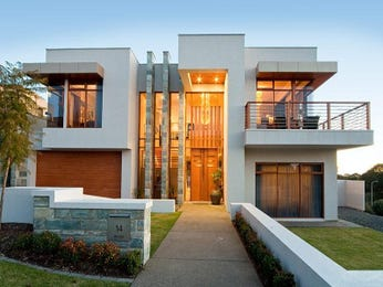 Concrete modern house exterior with balcony & feature lighting - House ...