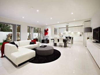 Open plan living room using black colours with tiles & french doors - Living Area photo 491980