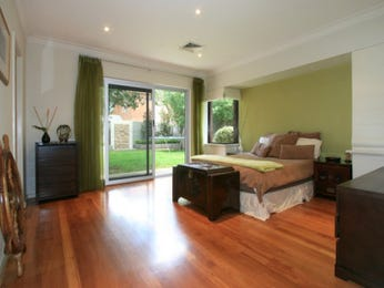 Classic bedroom design idea with floorboards & french doors using green colours - Bedroom photo 477254