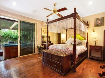 Classic bedroom design idea with floorboards & floor-to-ceiling windows using brown colours - Bedroom photo 7388985