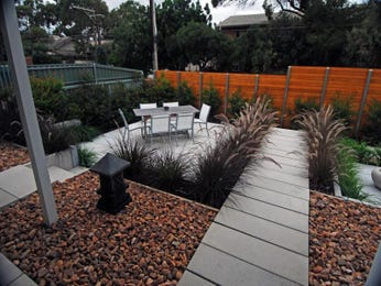 Low maintenance garden design using pavers with outdoor dining & outdoor furniture setting - Gardens photo 218759
