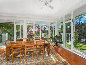 Classic dining room idea with floorboards & floor-to-ceiling windows - Dining Room Photo 8359941