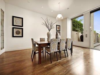 Art deco dining room idea with hardwood & floor-to-ceiling windows - Dining Room Photo 221903