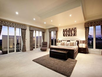 Modern bedroom design idea with carpet & balcony using black colours - Bedroom photo 222158
