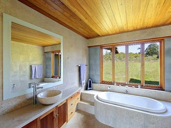 Country bathroom design with bi-fold windows using ceramic - Bathroom Photo 225699