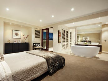 Modern bedroom design idea with tiles & french doors using brown colours - Bedroom photo 474834