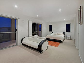 Modern bedroom design idea with carpet & french doors using black colours - Bedroom photo 1539291