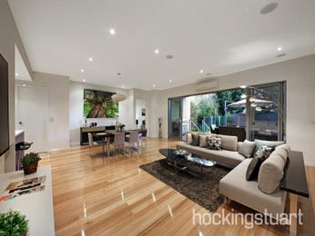 Dining-living living room using beige colours with floorboards & floor-to-ceiling windows - Living Area photo 16844533
