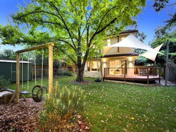 Cottage garden design using grass with verandah & play equipment - Gardens photo 276763