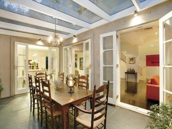 Casual dining room idea with tiles & french doors - Dining Room Photo 277131