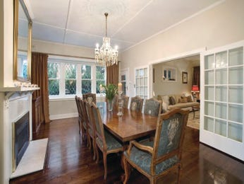 Period dining room idea with carpet & bi-fold doors - Dining Room Photo 277241
