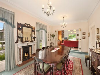Period dining room idea with carpet & fireplace - Dining Room Photo 277362
