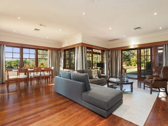 Dining-living living room using grey colours with floorboards & floor-to-ceiling windows - Living Area photo 8242513