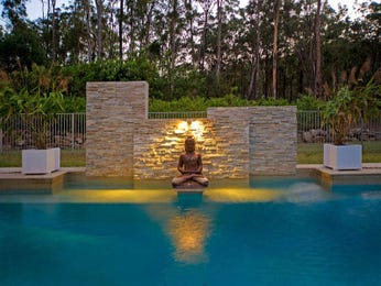 Indoor pool design using natural stone with pool fence & decorative lighting - Pool photo 281264