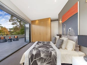 Modern bedroom design idea with wood panelling & floor-to-ceiling windows using grey colours - Bedroom photo 8504597