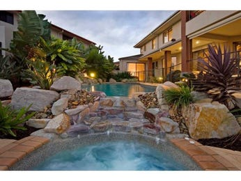 In-ground pool design using natural stone with pool fence & decorative lighting - Pool photo 282840