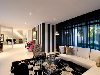 Split-level living room using black colours with carpet & bay windows - Living Area photo 283265