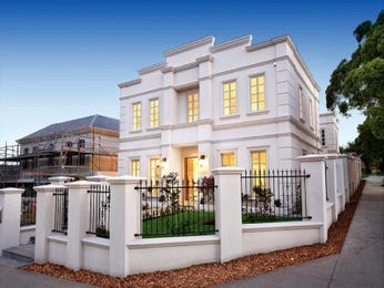 Art deco modern facade ideas with picket fence for Classic house facades
