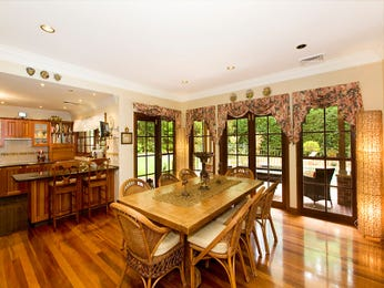 Classic dining room idea with floorboards & floor-to-ceiling windows - Dining Room Photo 7024453