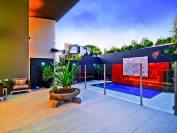 In-ground pool design using glass with decking & decorative lighting - Pool photo 285672