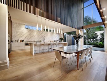 Modern dining room idea with hardwood & bar/wine bar - Dining Room Photo 634388